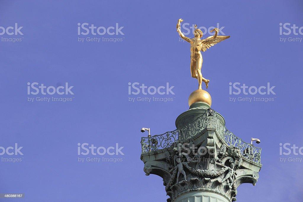 Genie de la liberte on the July Column, Bastille place. stock photo