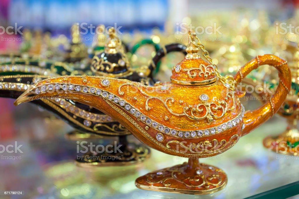 Genie lamp stock photo