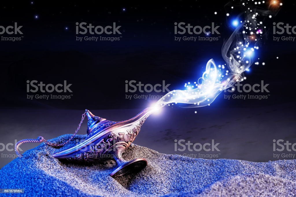 genie magical lamp stock photo