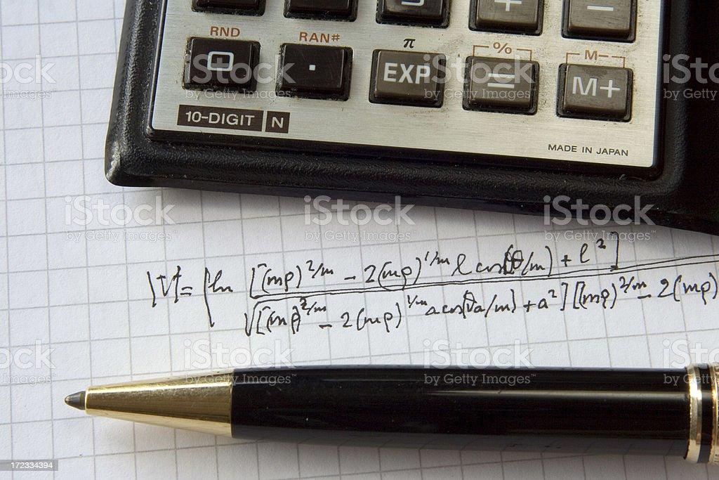 Genius at work, do not disturb (real math formulas) royalty-free stock photo