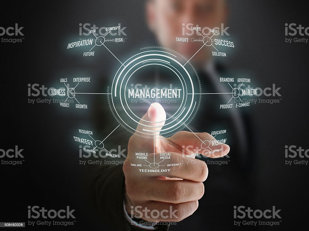 Genius Businessman Shows Management Formula stock photo