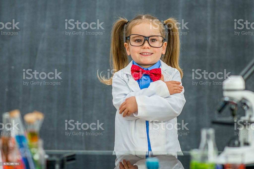 Genius Child Scientist stock photo
