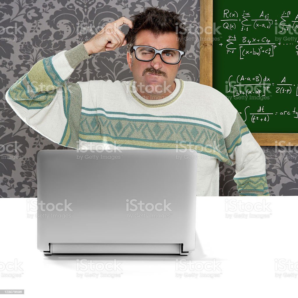 genius nerd silly glasses thinking gesture royalty-free stock photo