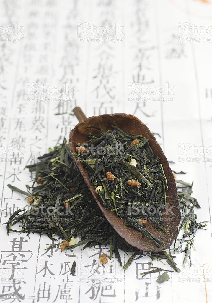 Genmaicha brown rice tea stock photo