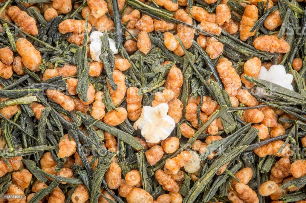 genmaicha green tea with roasted rice stock photo