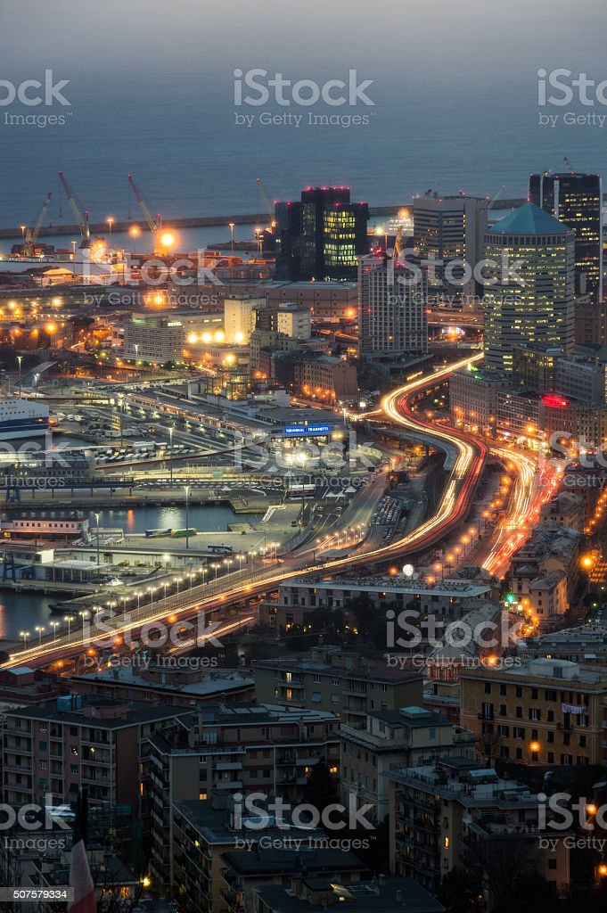 Genoa Blue Hour stock photo