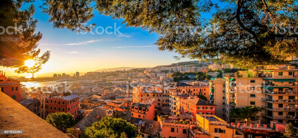 Genoa cityscape panorama during sunset. stock photo