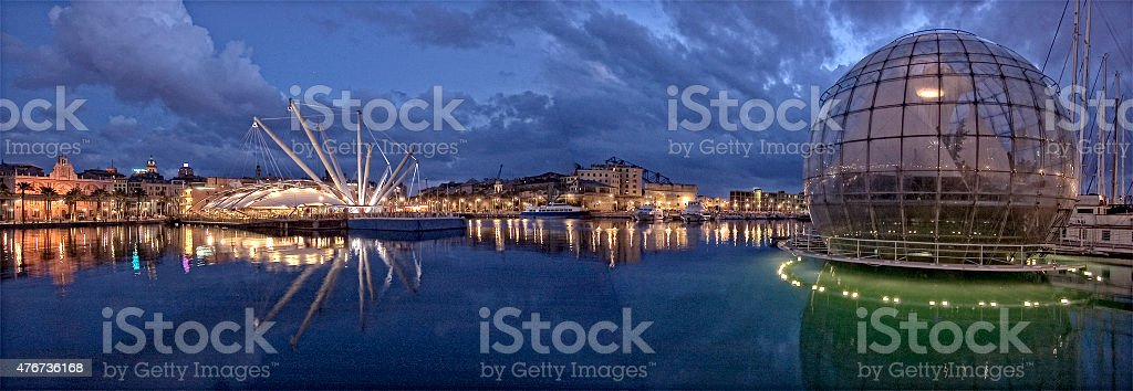 Genoa, Italy, night view stock photo
