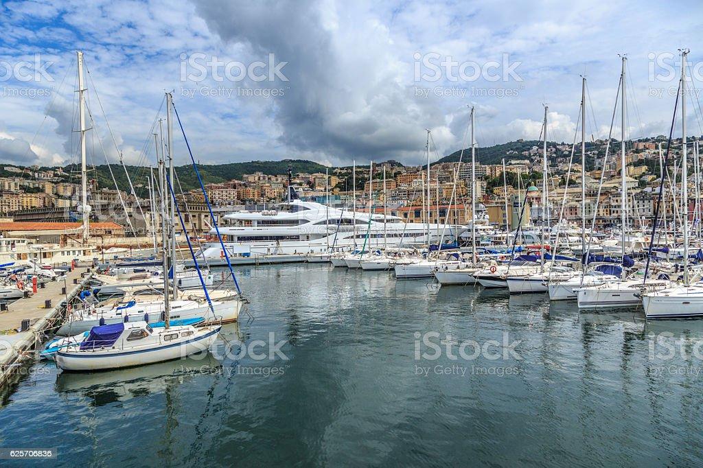 Genoa port sea view with yachts stock photo