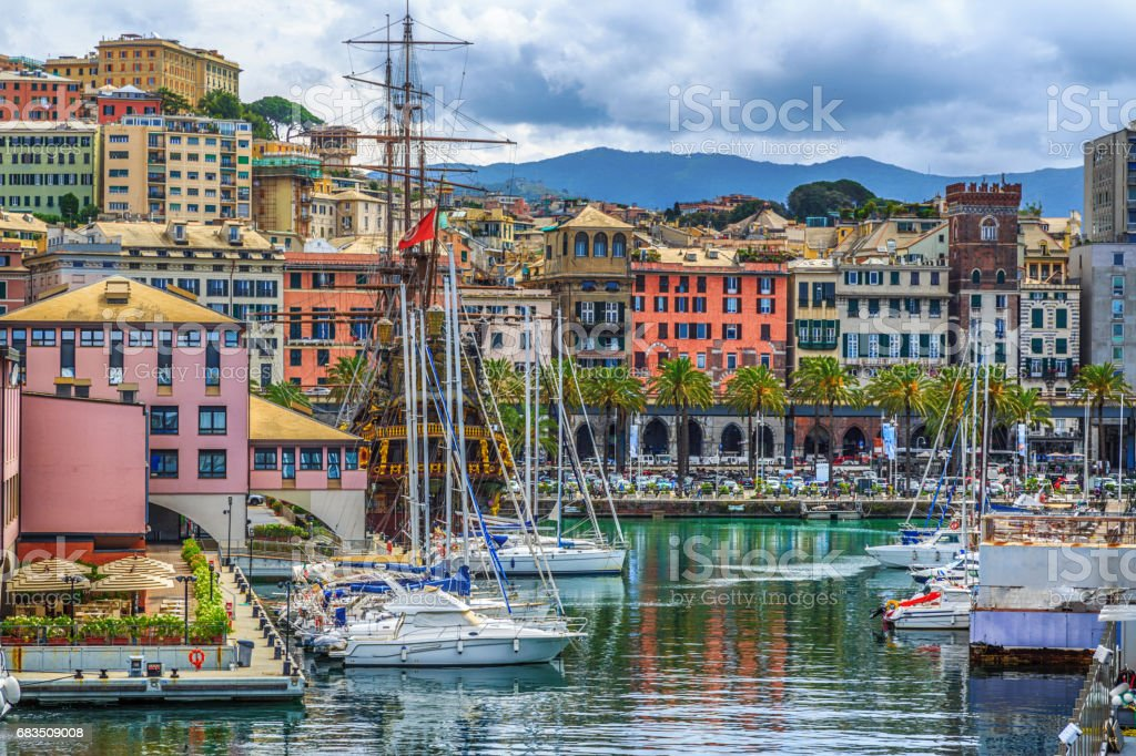 Genoa port sea view with yachts stock photo