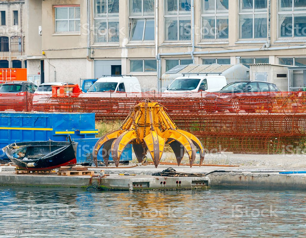 Genoa. The equipment for the crane on the embankment. stock photo