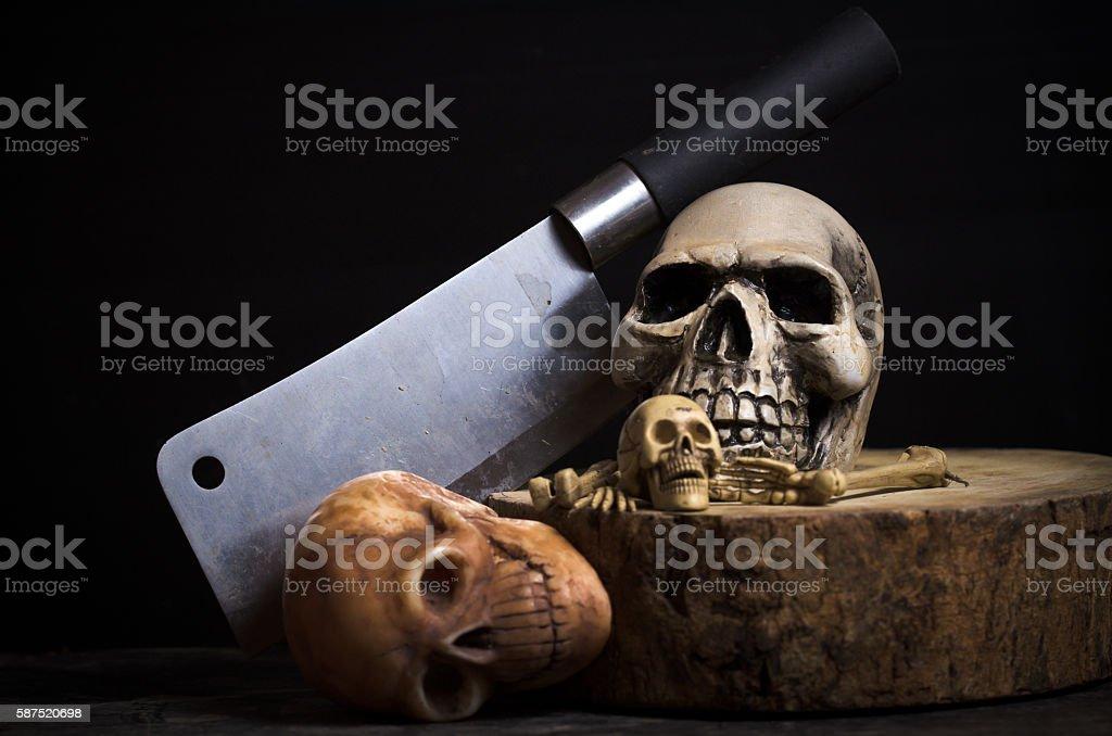 genocide skulls on black background stock photo