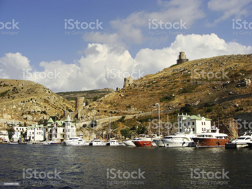 Genoese fortress Cembalo and Balaklava town, Crimea stock photo