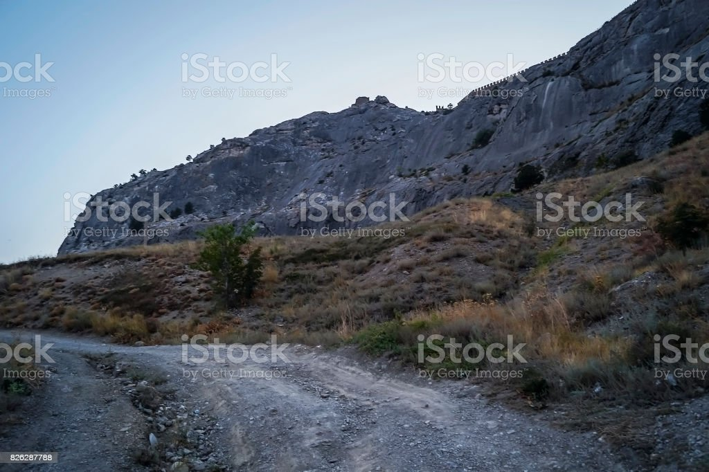 Genoese fortress on a mountain top stock photo