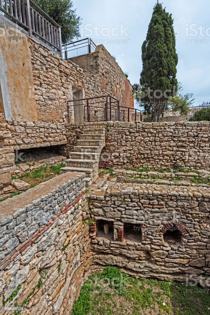 Genoese house ruins in Old City of Bonifacio stock photo