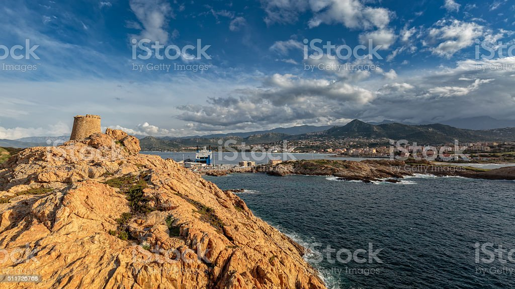 Genoese tower at La Pietra in Ile Rousse in Corsica stock photo