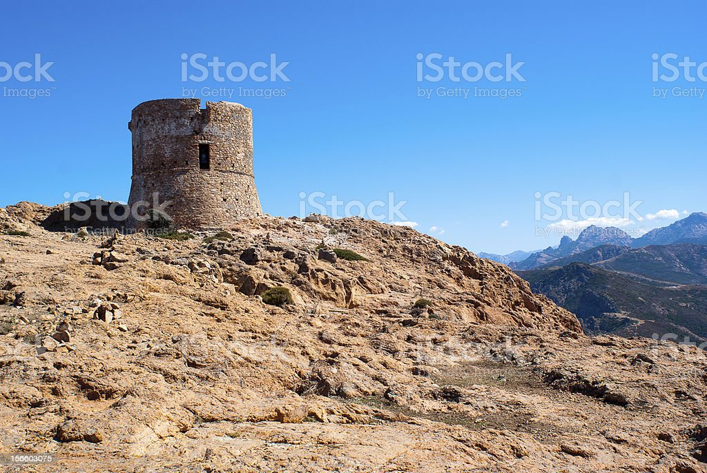 Genoese tower on Capo Rosso royalty-free stock photo