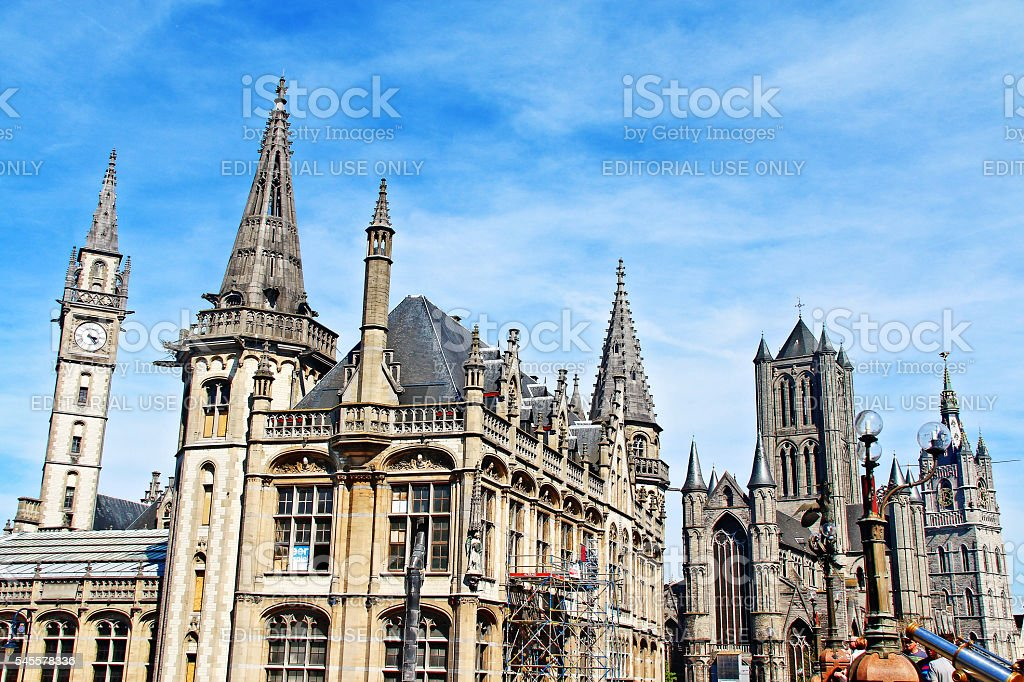 Gent, Belgium - May 06, 2016 - Medieval buildings in Ghent stock photo