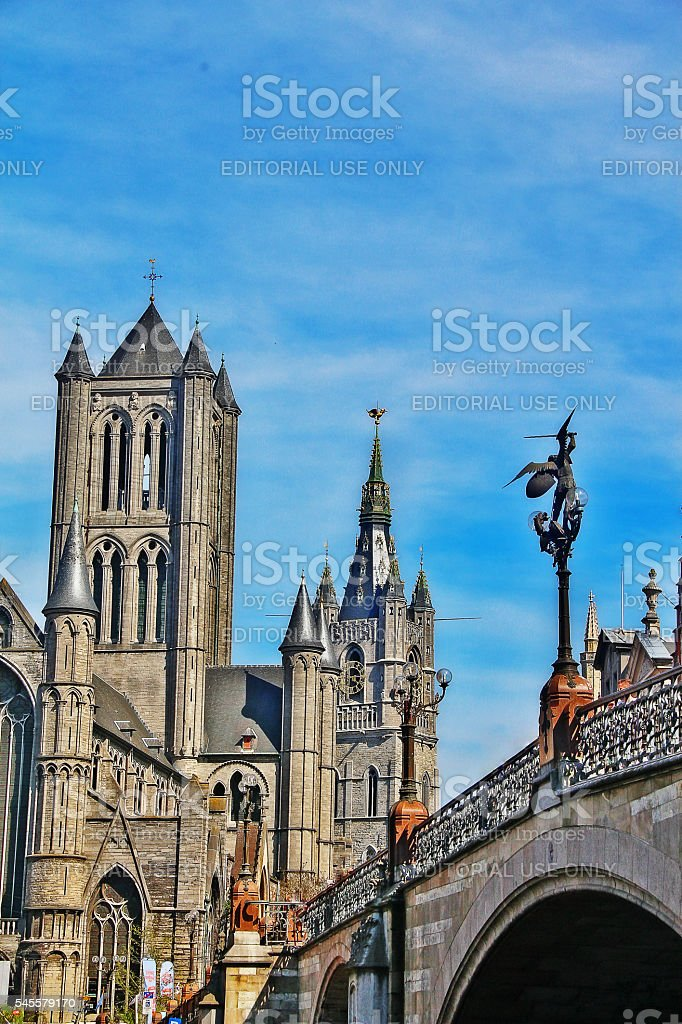 Gent, Belgium - May 06, 2016 - Medieval towers in Ghent stock photo