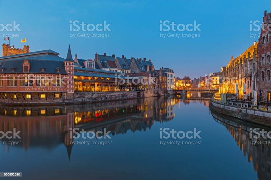 Gent Skyline during Blue Hour stock photo