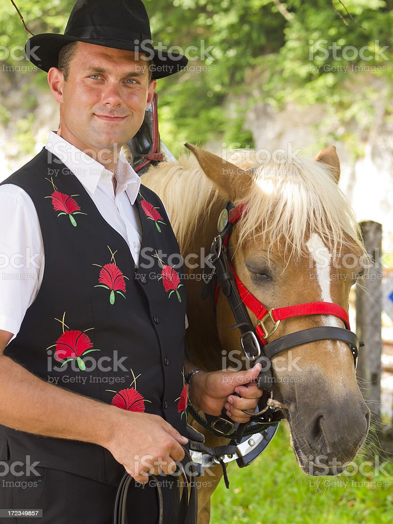 Gentelmen and horse royalty-free stock photo