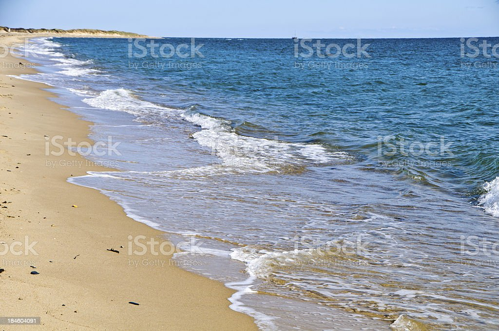 Gentle Waves on a Deserted Beach stock photo