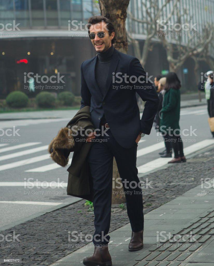 Gentleman downtown stock photo