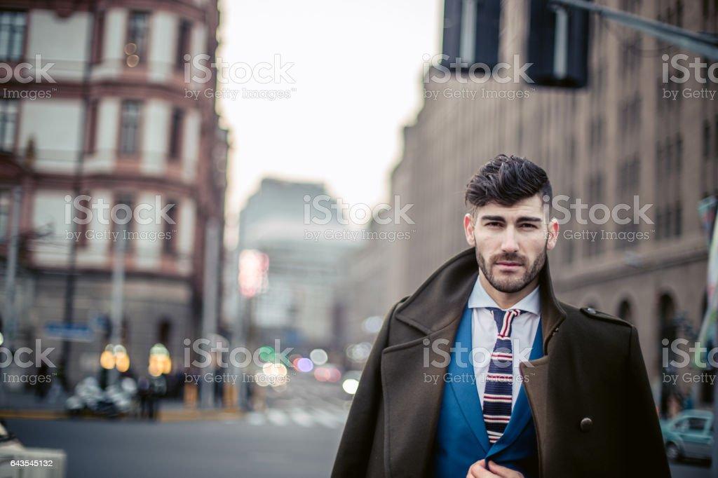 Gentleman in suit on the street stock photo
