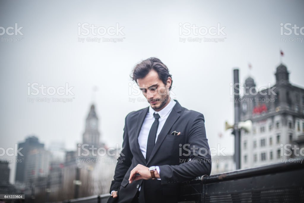 Gentleman in suit stock photo