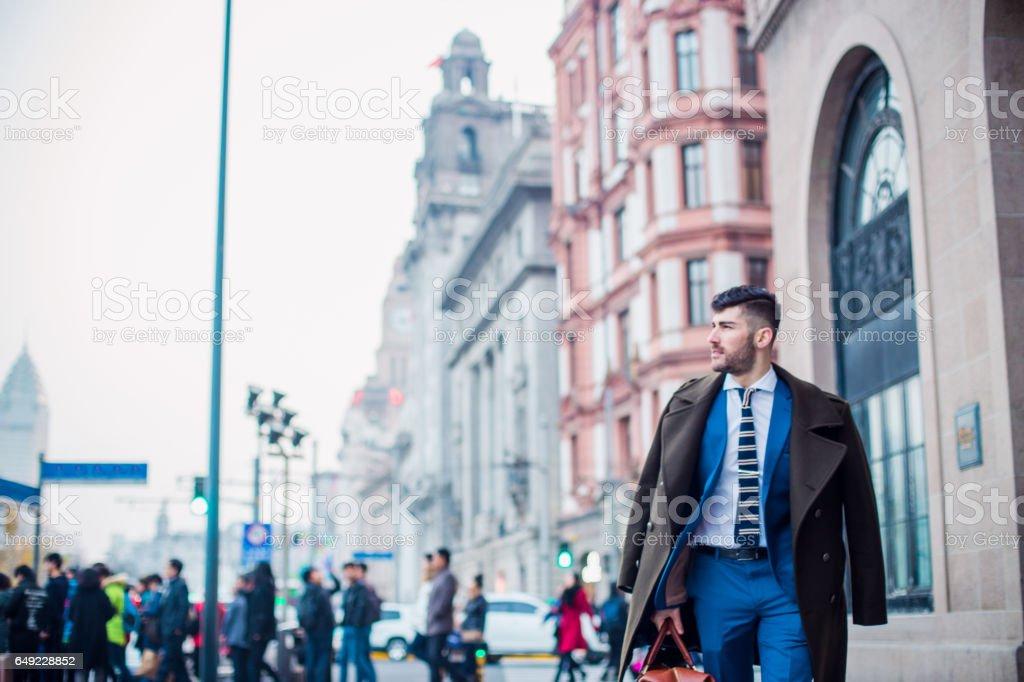 Gentleman in the city stock photo
