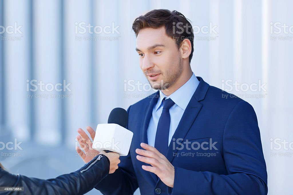 Gentleman in the process of expressing his opinion stock photo