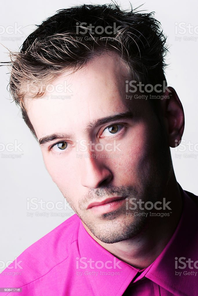 gentleman portrait with pink shirt royalty-free stock photo