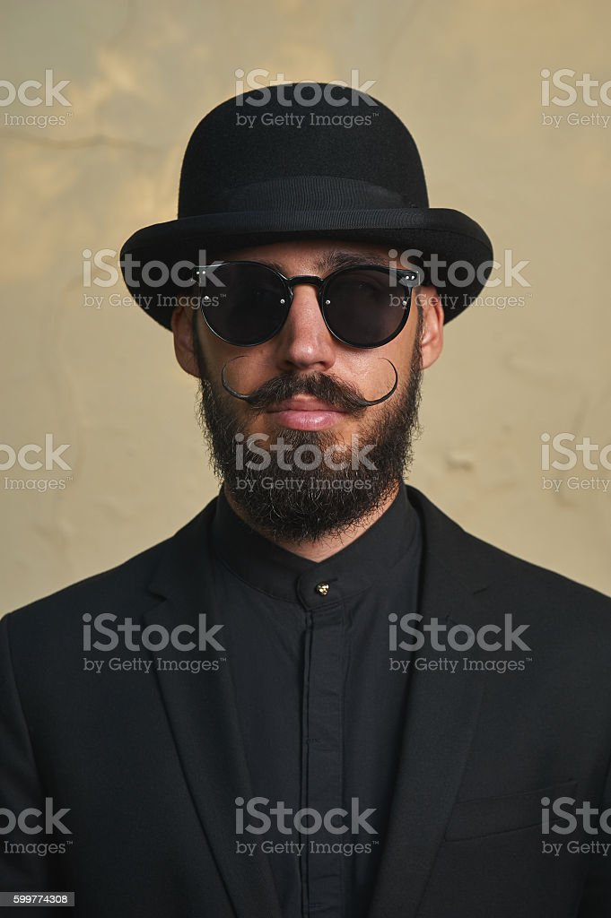 Gentleman with Bowler Hat stock photo