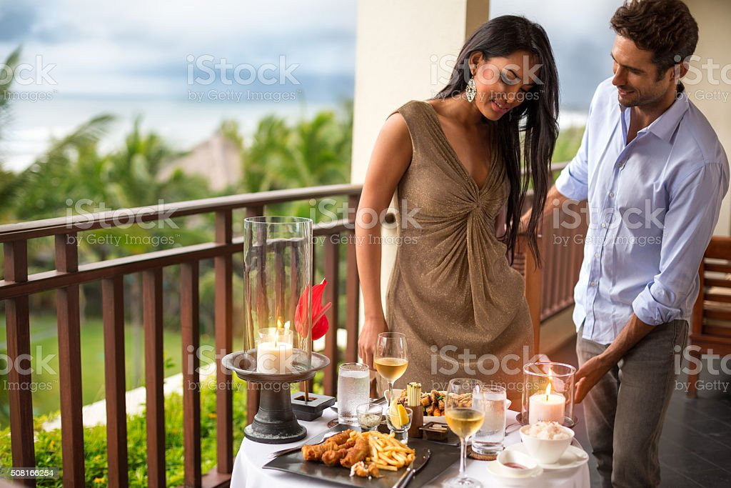 gentleman with his girl on dinner stock photo