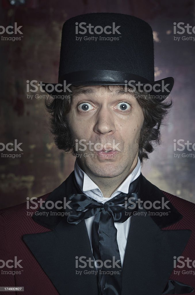 Gentleman with Top Hat Making A Face royalty-free stock photo