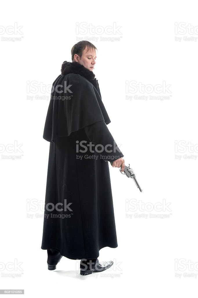 Gentlemen holding gun stock photo