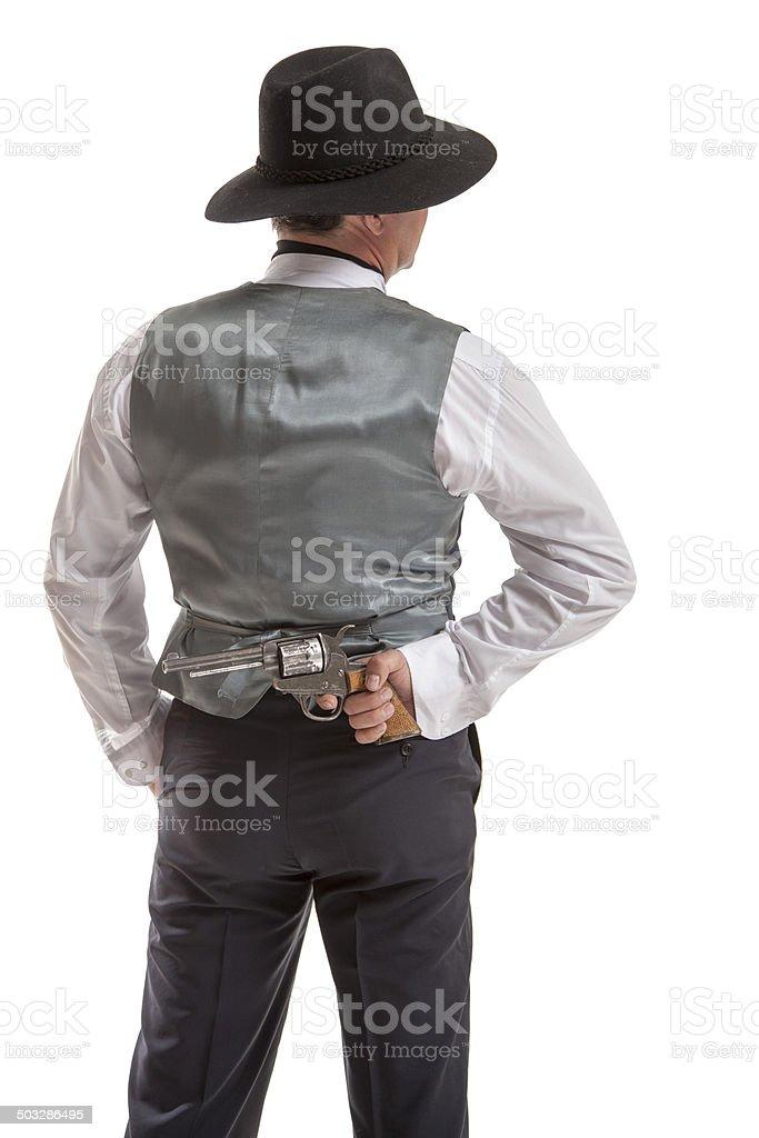 Gentlemen holding gun stock photo