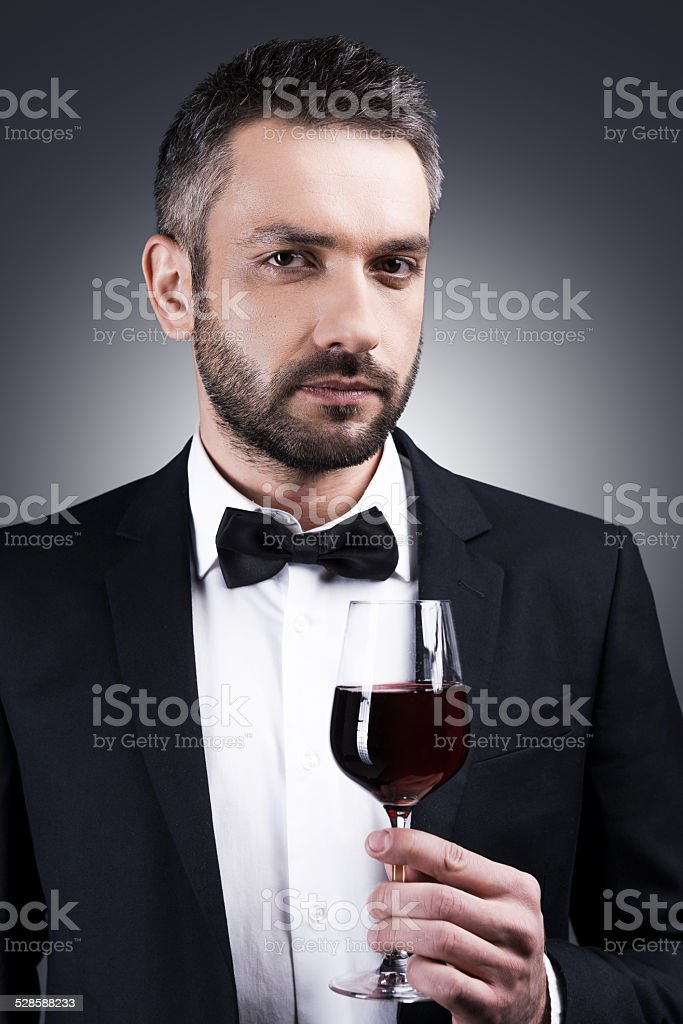 Gentlemen prefer wine. stock photo