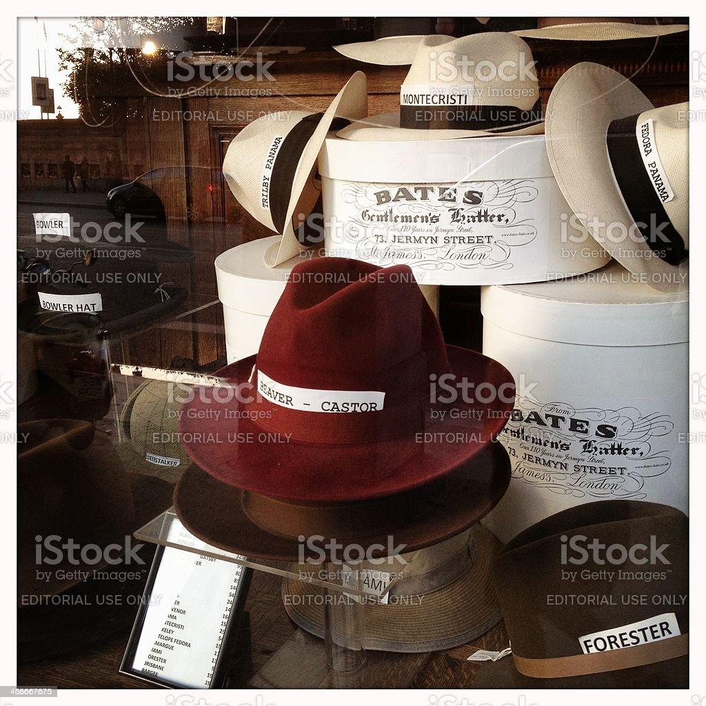 Gentlemen's hats for sale on the Rue de Rivoli, Paris royalty-free stock photo