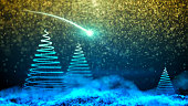 Gently falling snow with Christmas tree