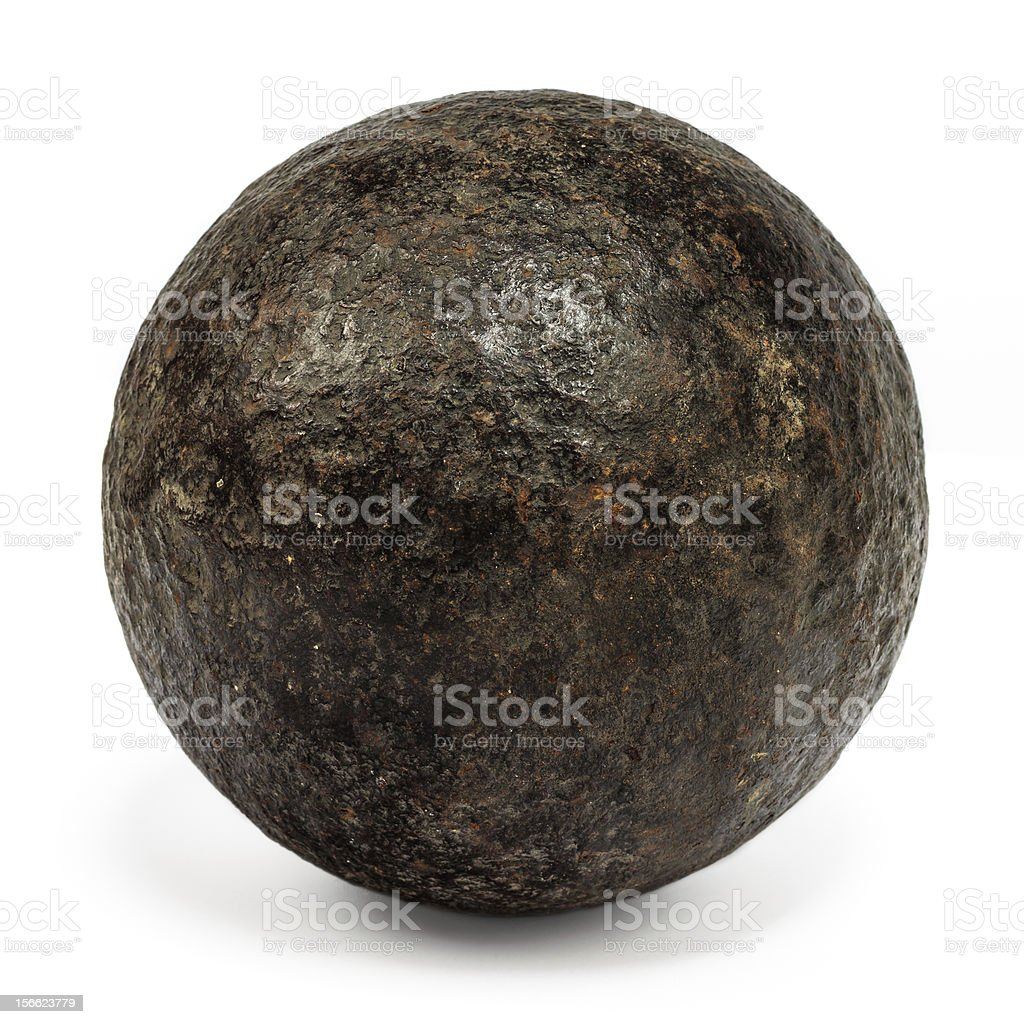 Genuine 18th century cannonball isolated on white stock photo