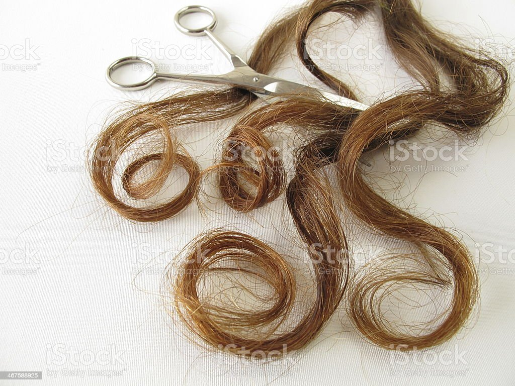 Genuine chestnut-brown hair and a scissors stock photo