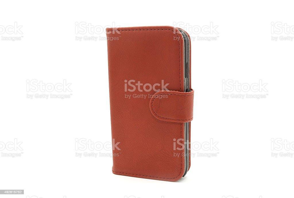 Genuine leather smartphone case stock photo