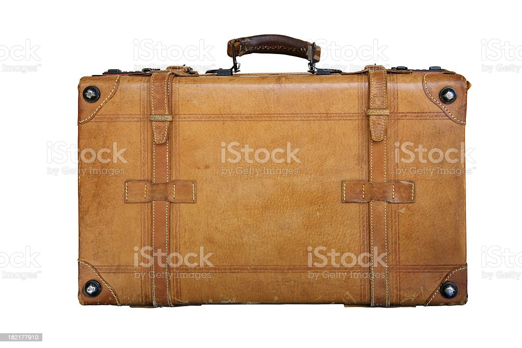 Genuine leather suitcase stock photo