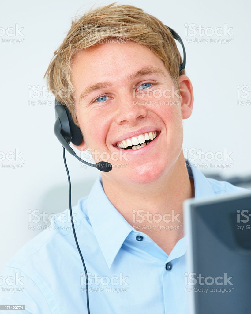 Genuine smile of an authentic operator royalty-free stock photo