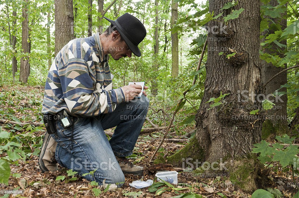 Geocacher has found the cach GC2WND3 stock photo