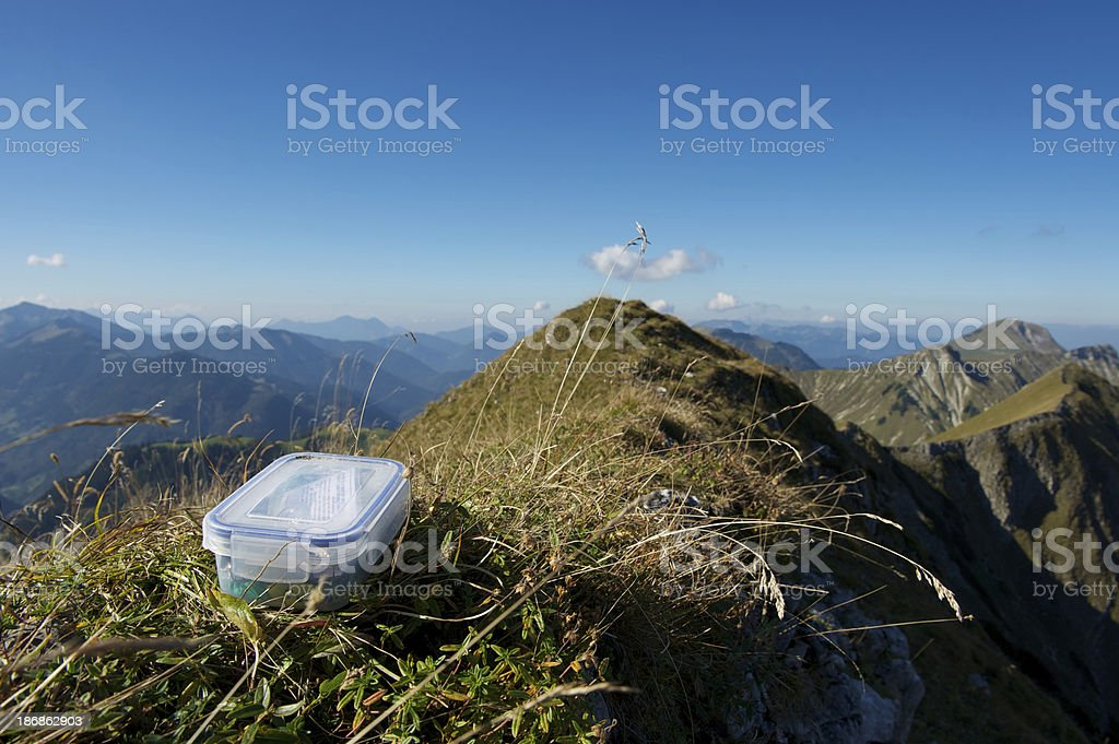 Geocaching in the mountains stock photo