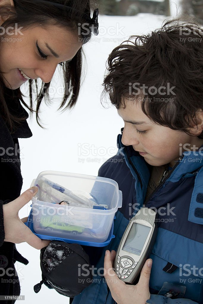 Geocaching Kids stock photo