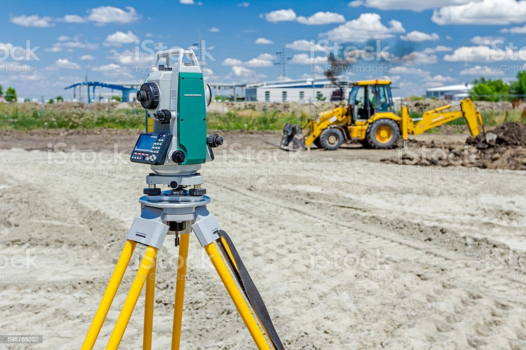 Geodesist device, is working with total station. stock photo