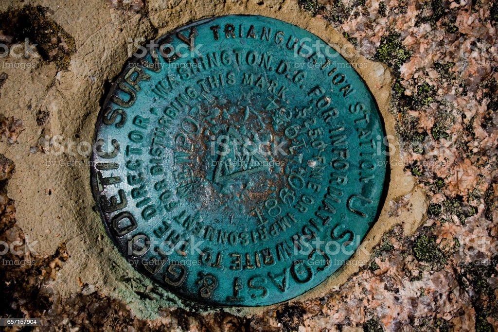 Geodetic Survey Marker at Acadia National Park stock photo